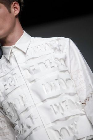 Textiles for Fashion - white shirt with laser cut patterns; close up fashion detail // Matthew Miller Spring 2013