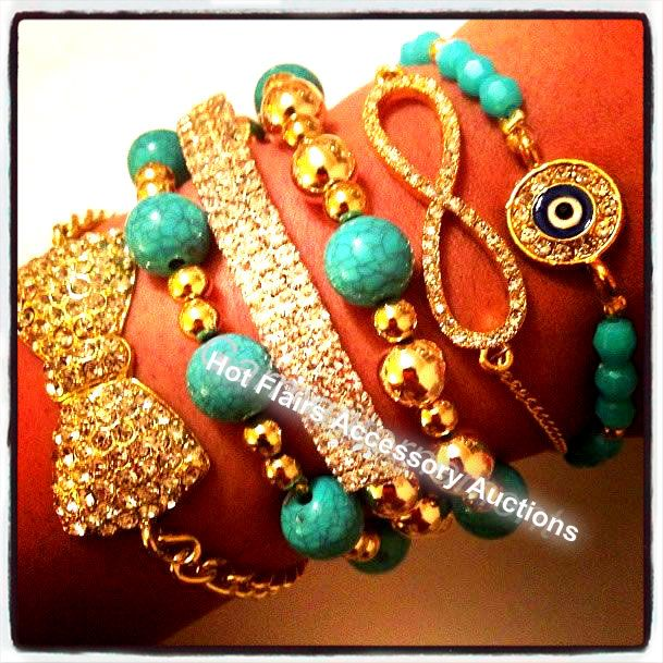 All this wrist candy needs in a nice big boyfriend watch!  Go to:  facebook.com/hotflairs  etsy.com/hotflairs