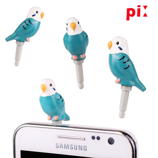 Pi Little Bird earphone jack dust plug, blue budgie shown