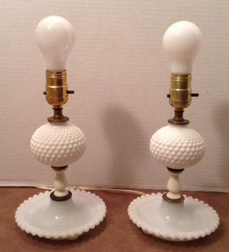 Vintage Pair White Milk Glass Base Hobnail Bed Side Electric Table Lamps  Lamp | EBay