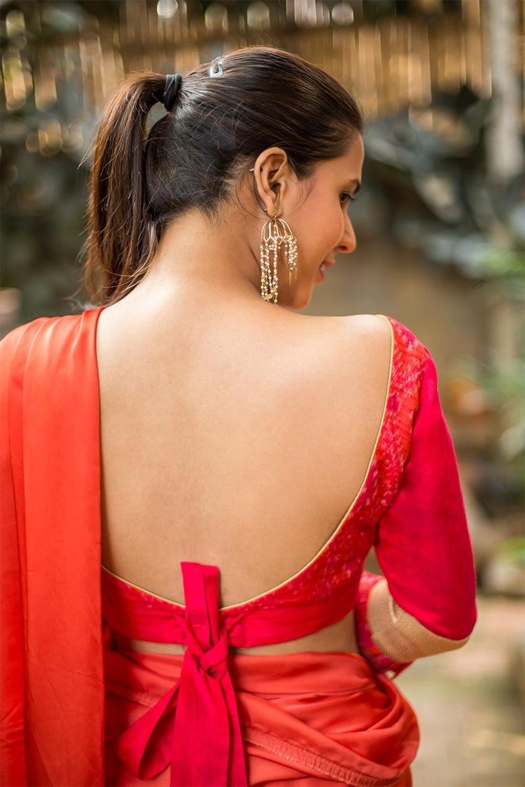 House Of Blouse Pinkish red Ikat raw silk blouse with frills on sleeves