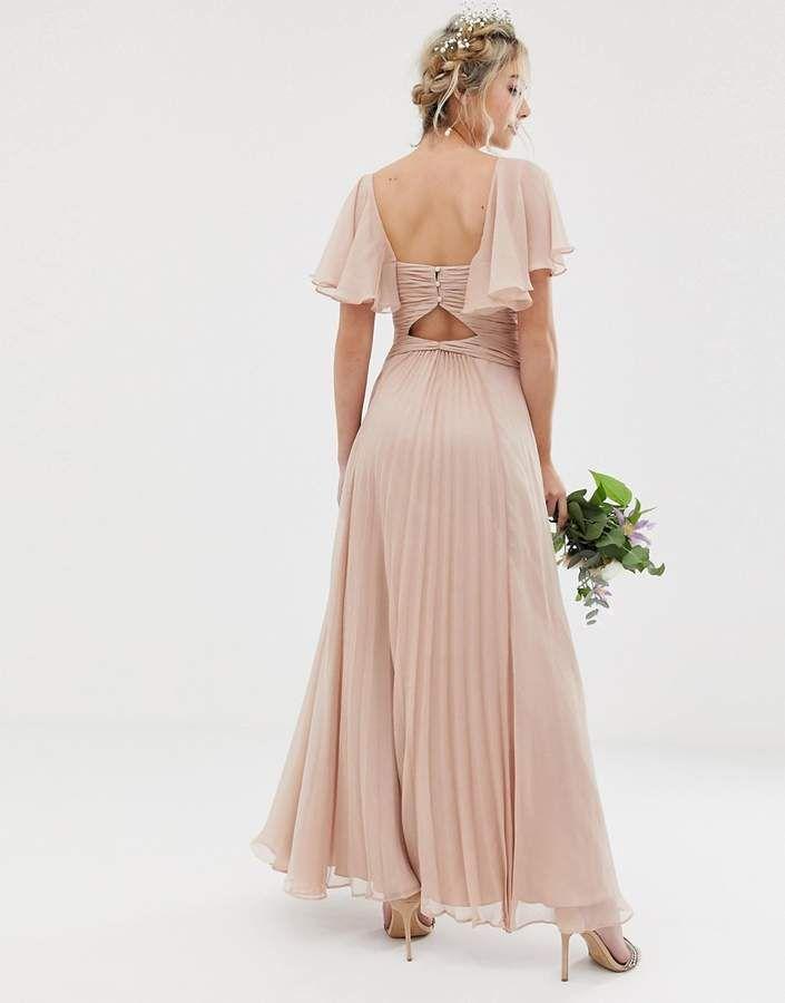 7f1a8e819fd Asos Design DESIGN Bridesmaid pleated bodice maxi dress with flutter sleeve   Bridesmaid pleated