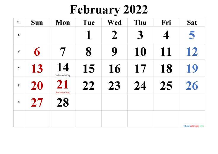 Free Printable February 2022 Calendar Pdf And Png Printable Calendar Design Calendar Printables Free Printable Calendar Monthly