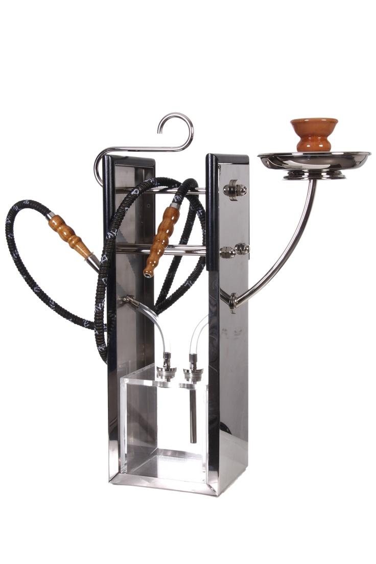 """""""Water Pipe"""" Chicha en matiere steinless et cuivre . longeur 37 cm largeur 15 cm haut 54 cm. Atelier Sz."""