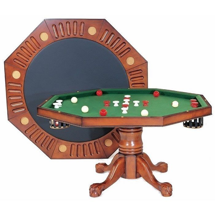 Berner Octagon 3 In 1 Combination Game Table Antique Walnut Bumper Pool Table Bumper Pool