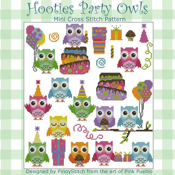 Hooties Party Owls Mini Collection Cross Stitch PDF Chart on Etsy