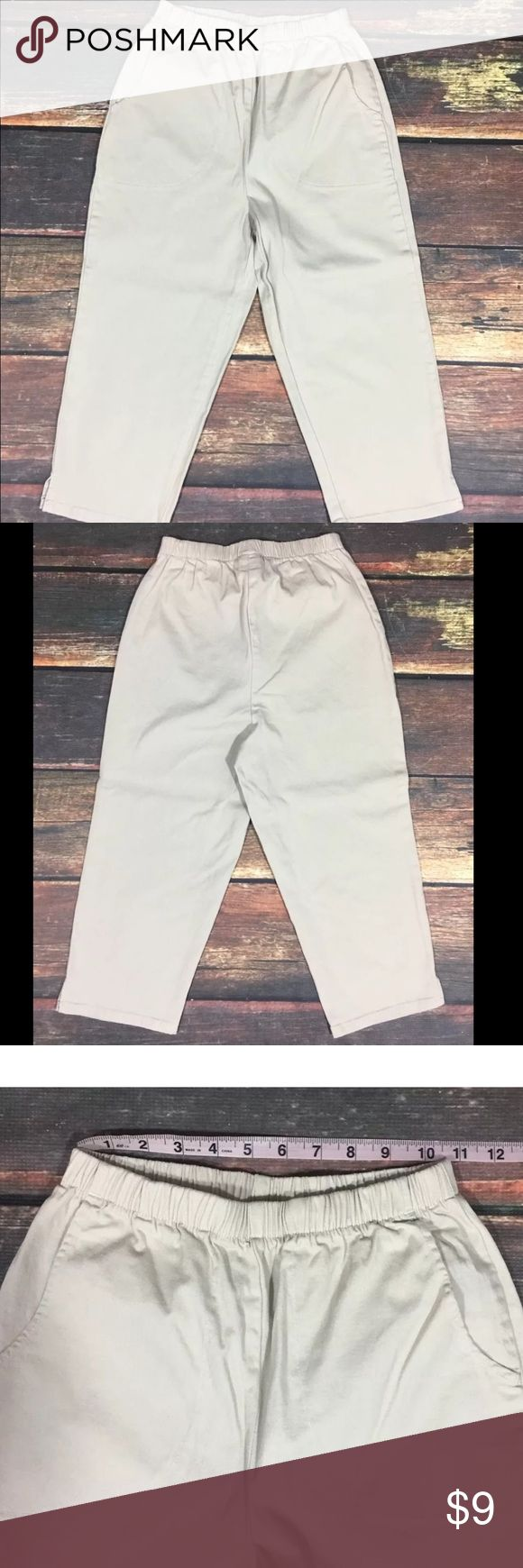 Denim & Co Khaki Capri Pants Women's capri pants by Denim & Co. Khaki color. Elastic stretch waist. Pockets. QVC item number A14924.   See photos for measurement details.  96% cotton, 4% spandex.  No rips, tears, stains, or flaws. From a smoke free home.  B010 Denim & Co Pants Capris