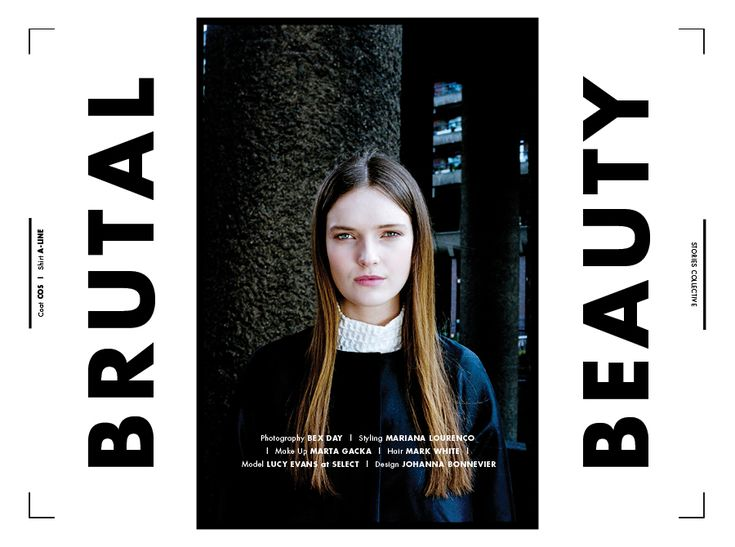 Stories Collective / Brutal Beauty / Photography Bex Day / Styling Mariana Lourenço / Make Up Marta Gacka / Hair Mark White / Model Lucy Evans at Select / Design Johanna Bonnevier #barbican #fashion #editorial #brutalism #simplicity #storiescollective