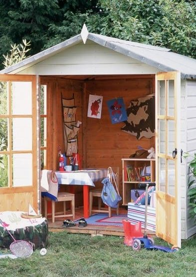 turn a shed into an outdoor playroomThe Doors, Plays House, Playhouses, Plays Spaces, Backyards Kids Plays Area, Trees House, Gardens Sheds, Outdoor Playrooms, Play Houses