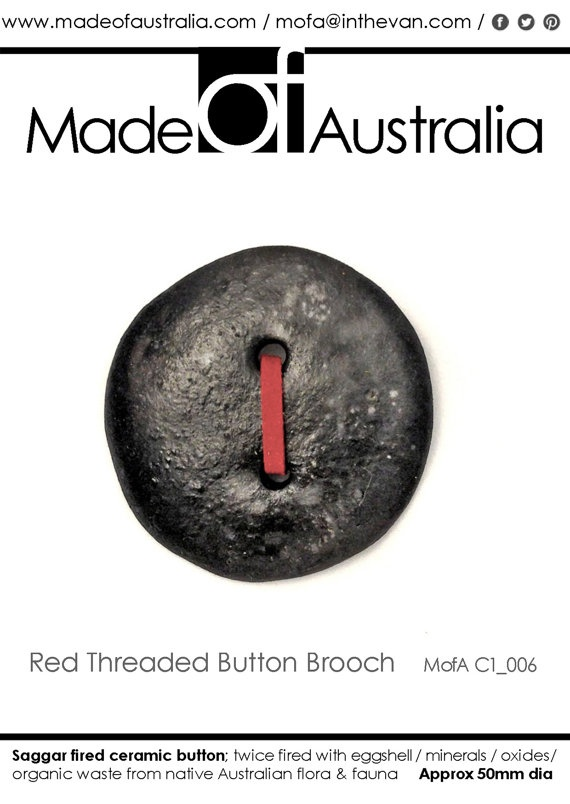 Ceramic  Button Brooch with Red Leather by MadeOFAustralia on Etsy, $69.00