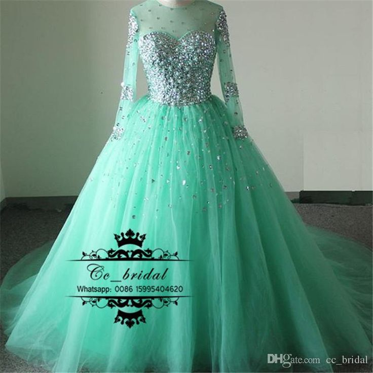 Puffy Ball Gown Mini Green Wedding Dresses With Sheer Long Sleeves Bridal Gown Beading Pearls Tulle Saudi Style Vestidos De Novia Hot Sale Wedding Dresses 2016 Bridal Gowns Custom Made 2017 Vestidos De Novia Online with 187.66/Piece on Cc_bridal's Store   DHgate.com