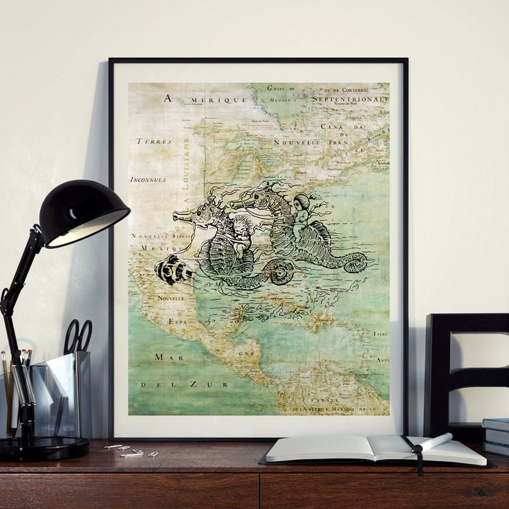 Vintage Map of North America Cute Seahorses Seaside Art Print Nautical Poster Instant Download Printable A4 A3 8×10 11x14 Wall Art HQ300dpi by ZikkiArt on Etsy