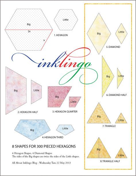 8 Inklingo Shapes for Pieced Hexagons