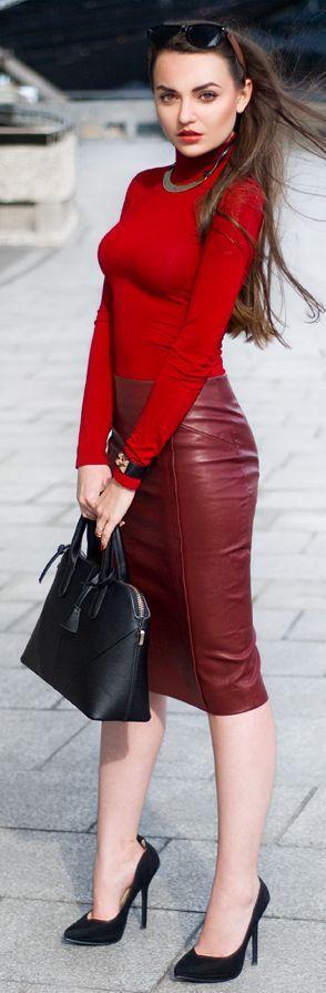 Burgundy Leather Pencil Midi Skirt