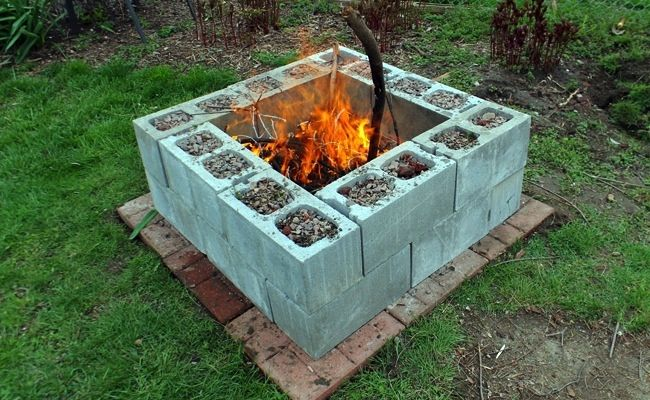 DIY Fire Pit with Cinder Blocks