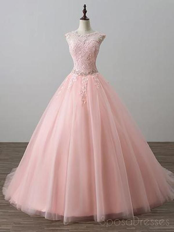 86fc6fde110 Blush Pink Open Back Lace Illusion A line Skirt Long Evening Prom Dresses