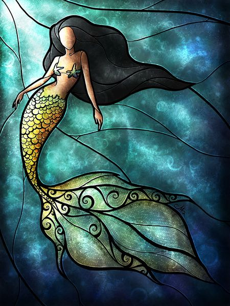 The Mermaid Art Print by Mandie Manzano...I wish I could do stain glass. This is GORGEOUS.