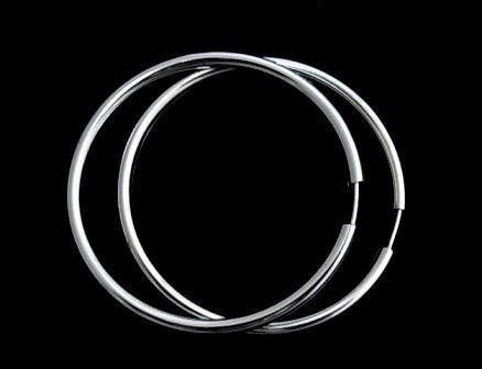 Pendientes de plata de primera ley de aro lisos gruesos de 4,5 cm de diametro