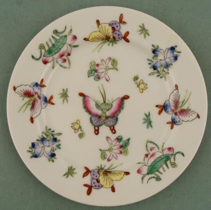Japanese HP Porcelain Butterfly Plate
