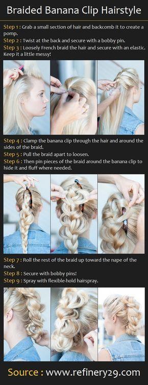 Braided Banana Clip Hairstyle | Pinterest Tutorials