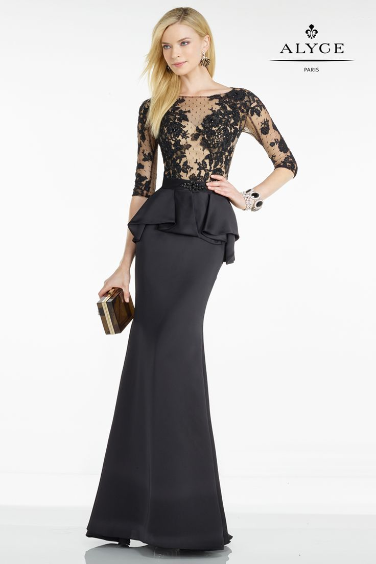5753 Black/Nude  Savvy ballet-sleeved gown from Black Label by Alyce Paris