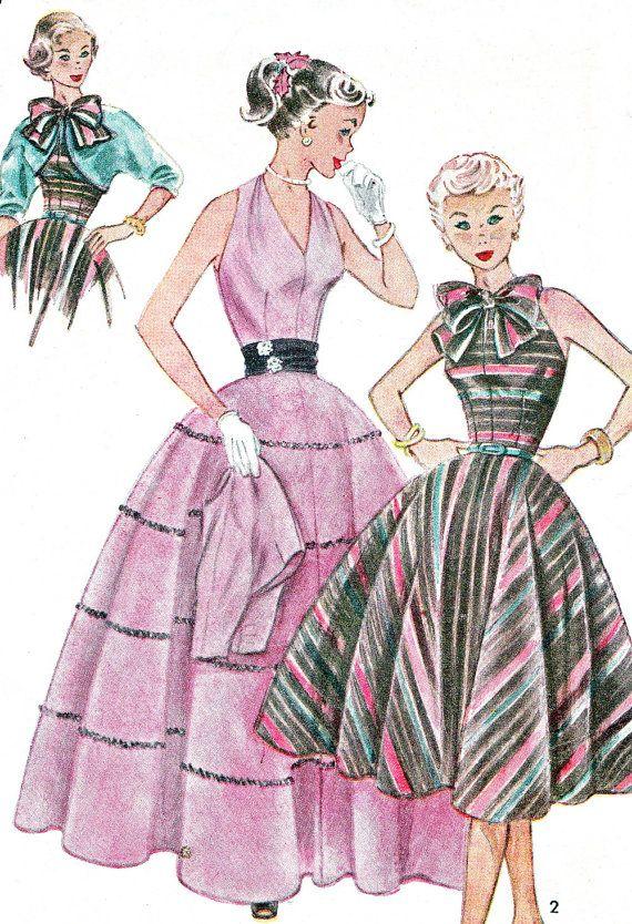 1950s Dress Pattern Simplicity 3957 Full Skirt Halter Neck