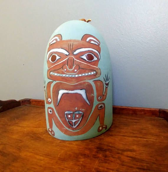 Vintage Bear Totem Clay Wind Chime // Native American Art