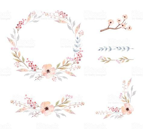 Floral Frame Collection. Set of cute retro flowers arranged un a…
