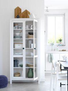 Fresh White Glass Storage Cabinet
