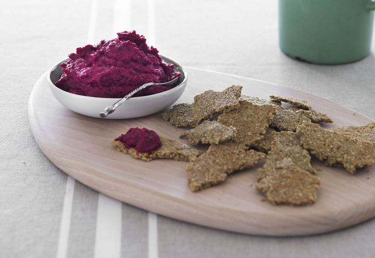 Beetroot Hummus with Seeded Crackers