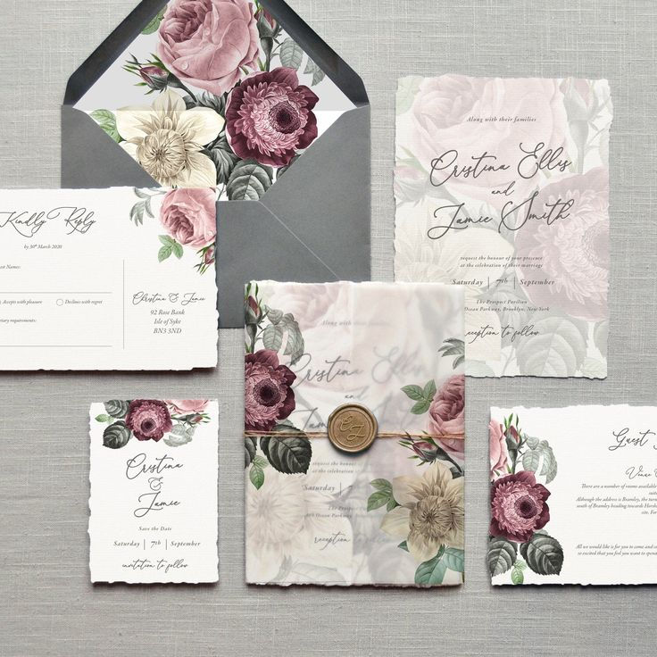 Diana Luxury Floral Wedding Invitations & Save the Date