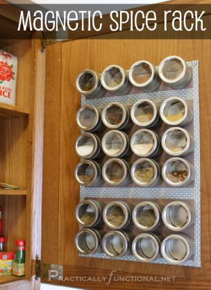 {DIY Magnetic Spice Rack!} like it so much better in the cabinet