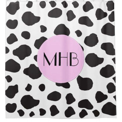 Monogram - Animal Print Cow Spots - Black Pink Shower Curtain - animal gift ideas animals and pets diy customize