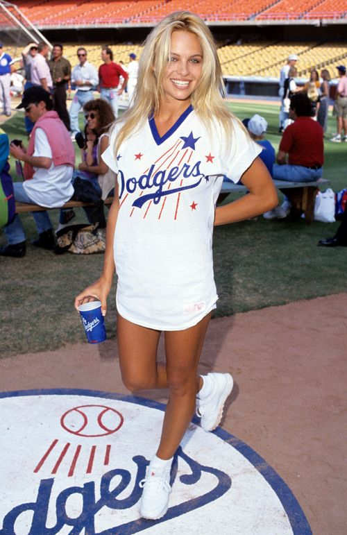 pamela anderson dodgers athletic sports jersey baseball mlb blonde