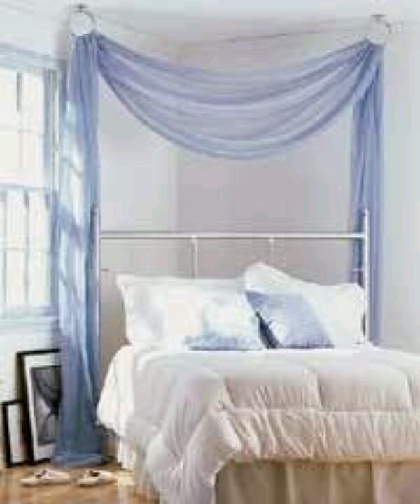 Another easy bed canopy idea/ something like this but a beige/peach color  with