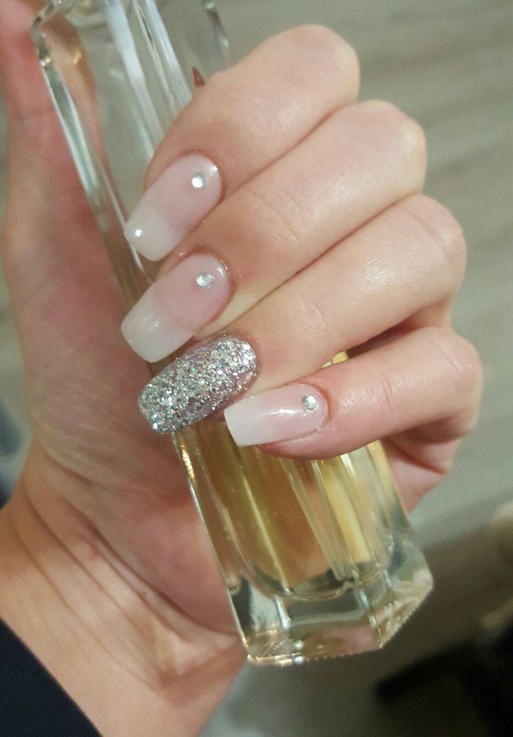 My nails, tips, natural nail look, glitter nails