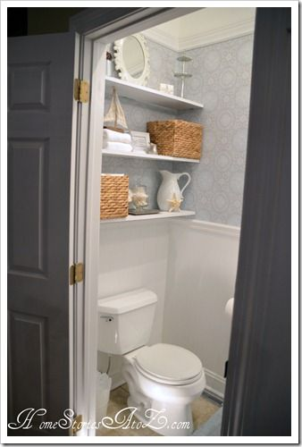 The shelves above the toilet. Definitely a must do and great for decorative purposes also! :)