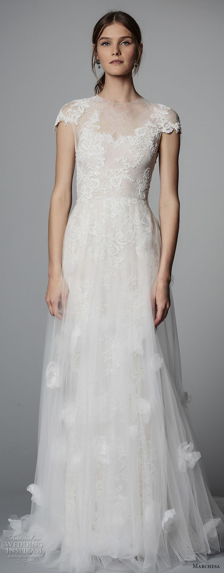 marchesa spring 2018 bridal cap sleeves illusion jewel sweetheart neckline heavily embellished bodice tulle skirt romantic a line wedding dress sheer lace back chapel train (05) mv zv -- Marchesa Bridal Spring 2018 Wedding Dresses
