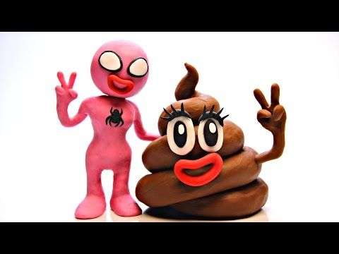 Pink Spidergirl, Poop Emoji, Elsa and Spiderman Play Doh Animation | Stop Motion Movie Clips - YouTube