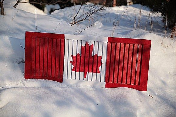 Flag Day: Canadian flag from an old shutter