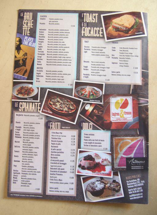 Blues Pub menu - back