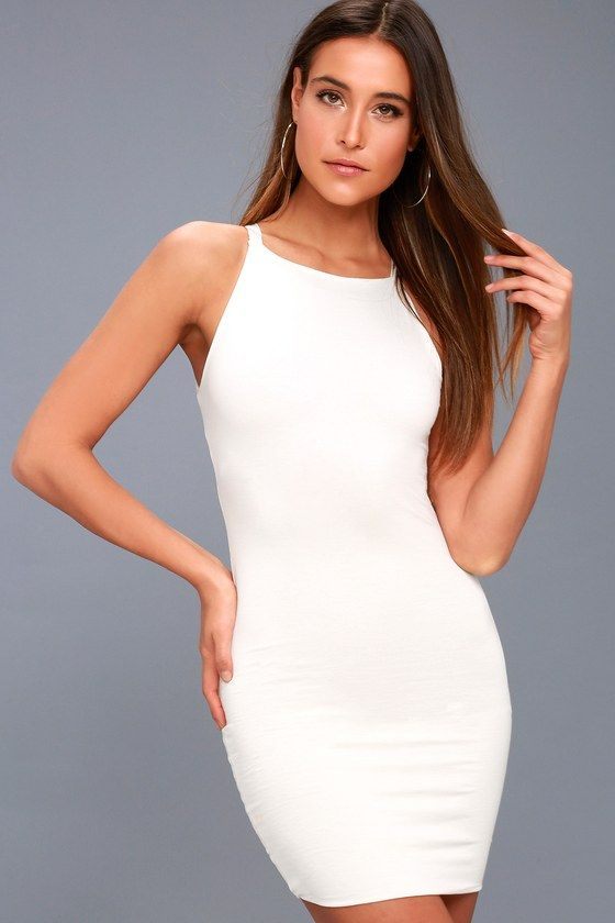 Lulus Exclusive! With the I Bet White Bodycon Dress, we're all in! Soft jersey knit starts at slender straps, and falls to an apron neckline, sleeveless bodice, and bodycon silhouette. Mini hem.