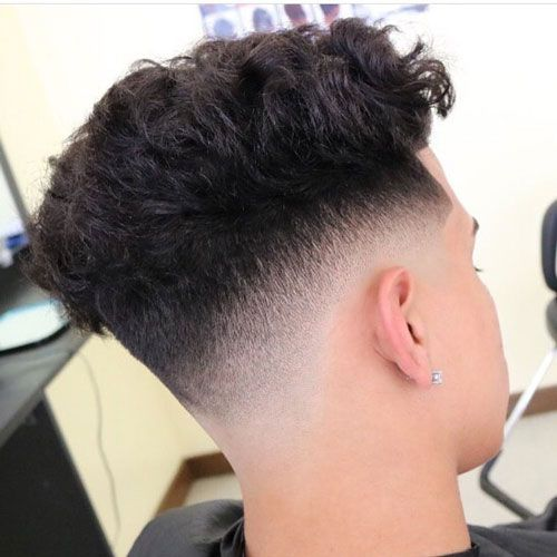 Curly Hairstyles For Men - Low Skin Fade with Curly Hair on Top