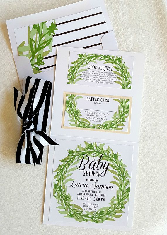 Green Wreath Baby Shower Invitation . Neutral Baby Shower, green wreath baby shower invitation, green foliage baby shower invitation, neutral baby shower, boho baby shower, parisian baby shower, garden baby shower, modern baby shower, baby shower suite packages