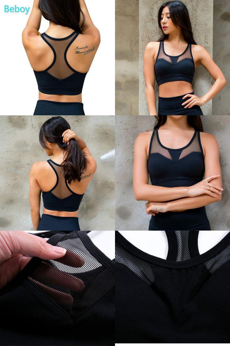 [Visit to Buy] Beboy Sexy Sport Bra Top Shakproof Padded Sports Bra Women Push Up Running Gym Fitness Yoga Bra Seamless Compression Bra Vest #Advertisement