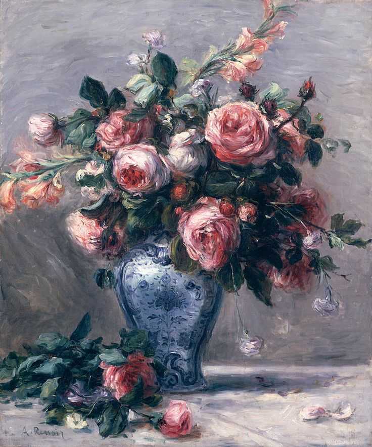 Vase Of Roses Painting by Pierre Auguste Renoir ✏✏✏✏✏✏✏✏✏✏✏✏✏✏✏✏  ARTS ET PEINTURES - ARTS AND PAINTINGS  ☞ https://fr.pinterest.com/JeanfbJf/pin-peintres-painters-index/ ══════════════════════  Gᴀʙʏ﹣Fᴇ́ᴇʀɪᴇ BIJOUX  ☞ https://fr.pinterest.com/JeanfbJf/pin-index-bijoux-de-gaby-f%C3%A9erie-par-barbier-j-f/ ✏✏✏✏✏✏✏✏✏✏✏✏✏✏✏✏