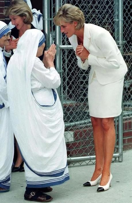 Mother Teresa and Princess Diana- both known for charity work, one a Saint the other a strong woman