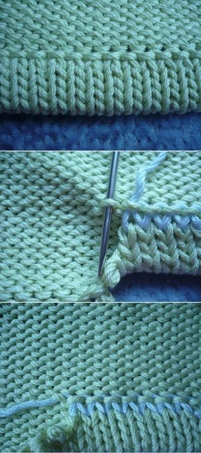 """Live stitches from the last row of a sleeve for a folded / turned hem on the WS: sewing tidily & nicely. => grafting to row ~~ Use for collar / neck: [https://www.pinterest.com/pin/460563499370455756/] ~~ """"подкетлевать"""" низ рукава, если его вяжут сверху-вниз. ."""