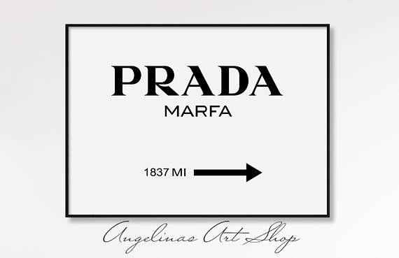 Typographie Prada Prada Marfa Print Prada Marfa Affiche De Mode Prada Marfa Wall Art Mode Impression Mode Logo Prada Marfa Fashion Wall Art Fashion Poster