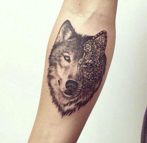 Wolf tattoo & hippie floral design